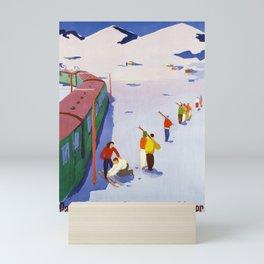 Werbeplakat par le chemin de fer aux sports dhiver cff sbb Mini Art Print