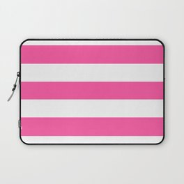 Brilliant rose -  solid color - white stripes pattern Laptop Sleeve