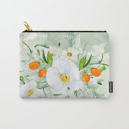 White Orchid Series: Orchid and Kumkwat Palms Carry-All Pouch