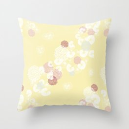 Floral Seamless Pattern on Yellow Throw Pillow