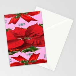 POINSETTIA SNOWFLAKES HOLLY HOLIDAY PINK DESIGN Stationery Cards