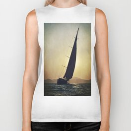 sailboat and sunset Biker Tank