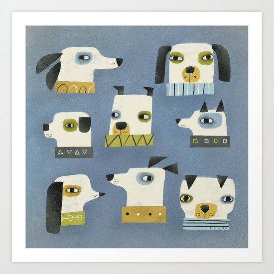 DOG HEADS Art Print