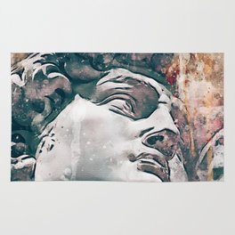 Watercolor Statue Of King David - Modern Gallery Art Rug