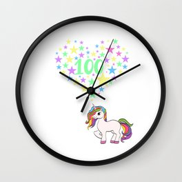 Teaching Gift Tee With An Illustration Of A Unicorn T-shirt Design Magical Mythical Colorful Clouds Wall Clock