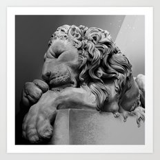 Study Of Chatsworth House Lion Art Print