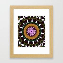Lovely Healing Mandala  in Brilliant Colors: Black, Brown, Green, Beige, and Pink Framed Art Print