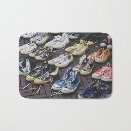 Sneakers shoes at a flea market Bath Mat