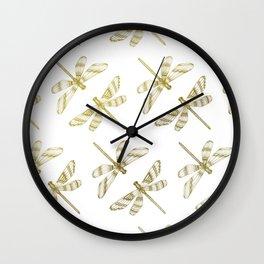 Golden Dragonflies Wall Clock