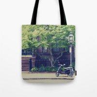 vespa Tote Bags featuring Vespa by thirteesiks