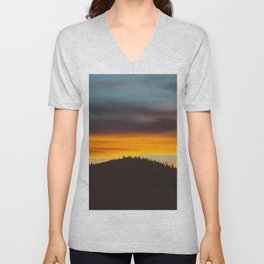 Mountain Hill With Trees Orange And Blue Sunset Clouds Unisex V-Neck