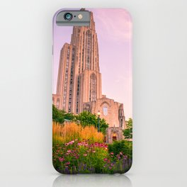 Pittsburgh Cathedral Of Learning Flower Garden iPhone Case