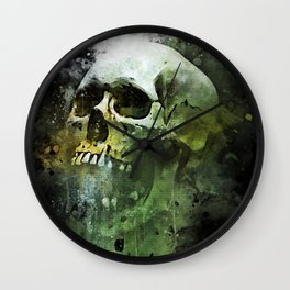 Splashed watercolor skull painting | let's get messy! Wall Clock