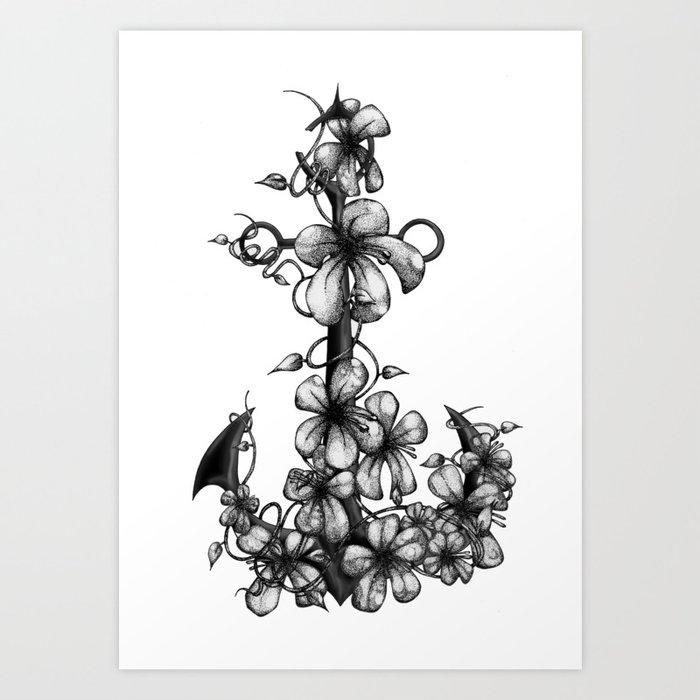 Anchor & flowers Art Print