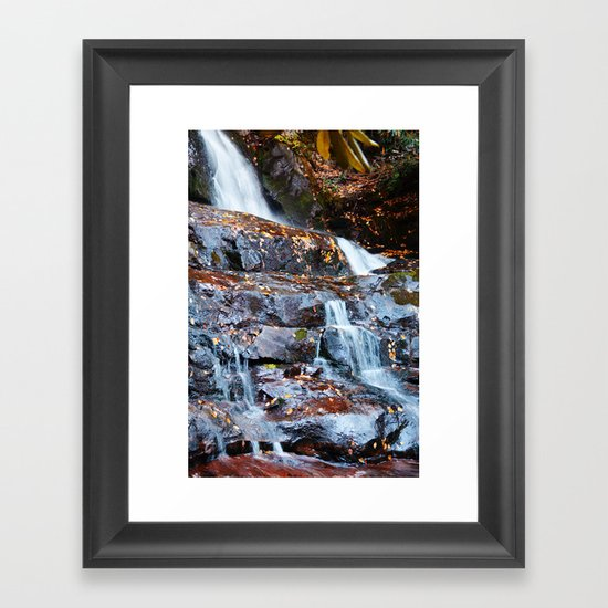 Autumn Waterfall Framed Art Print