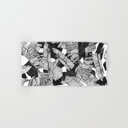 Modern Black and White Tropical Banana Leaves Hand & Bath Towel