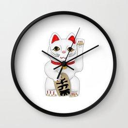Maneki-Neko Lucky Charm Japanese Cat Wall Clock