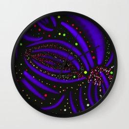 Purple Fireworks Display Wall Clock