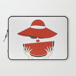 beautiful young woman with red hat, sunglasses and watermelon slice Laptop Sleeve