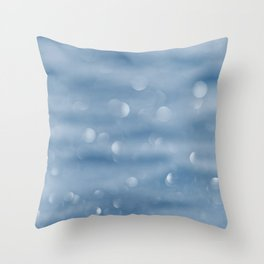 Blue sparkly defocused snowflakes Throw Pillow