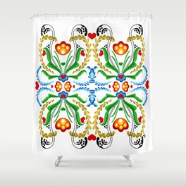 Scandinavian Folk Art ~ Tulip Mosaic Shower Curtain