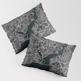 Istanbul City Map of Turkey in Dark Grunge Pillow Sham