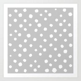Hand-Drawn Dots (White & Gray Pattern) Art Print