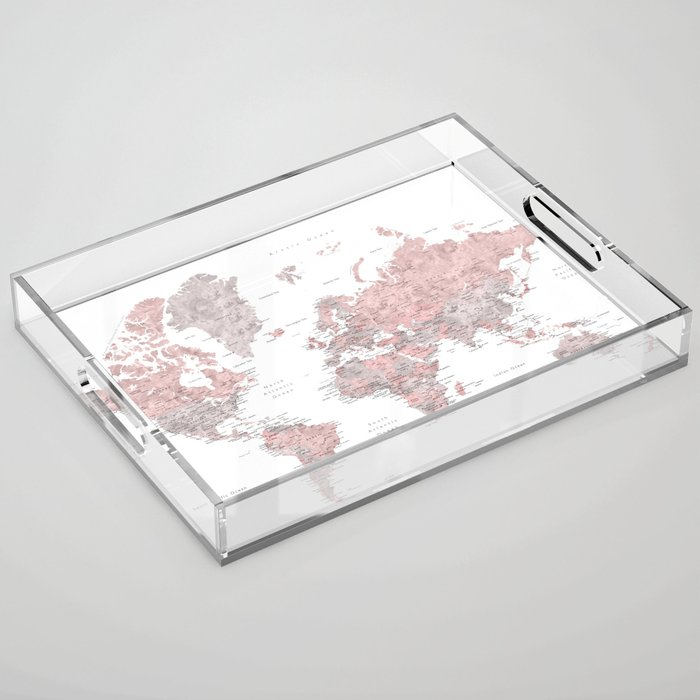 Dusty pink and grey detailed watercolor world map Acrylic Tray