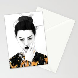 Girl in autumn colors Stationery Cards