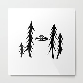 UFO in spruces Metal Print