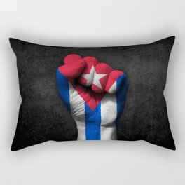 Cuban Flag on a Raised Clenched Fist Rectangular Pillow