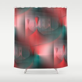 mirrored globs red and green Shower Curtain