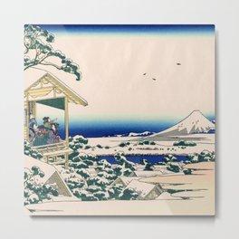 Hokusai -36 views of the Fuji 24 Tea house at Koishikawa Metal Print