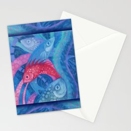 The Spawning, underwater art, pink & blue fish Stationery Cards