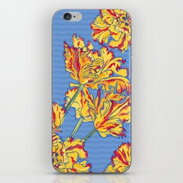 Yellow Tulips on Blue iPhone Skin
