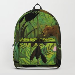 """Henri Rousseau """"Exotic Landscape with Lion and Lioness in Africa"""", 1903-1910 Backpack"""