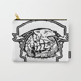 Wolf Pirate Ship Banner Retro Carry-All Pouch