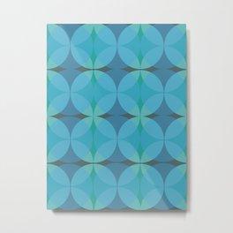 Retro Mid Century Blue Geometric Circular Pattern Metal Print