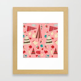 Vintage Christmas Pink Framed Art Print