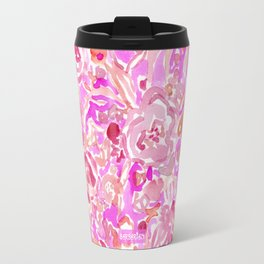BRAINWASH Pink Floral Travel Mug