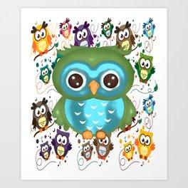CUTE PLAYFUL OWL Art Print