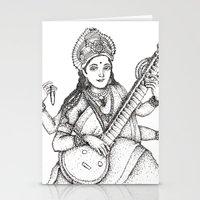 hindu Stationery Cards featuring Hindu Deity_Saraswati  by The Artful Yogini