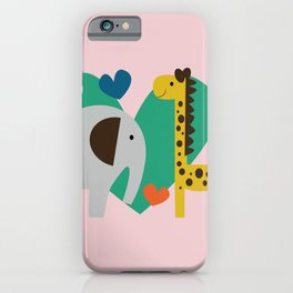 Elephant and Giraffe Pink iPhone Case