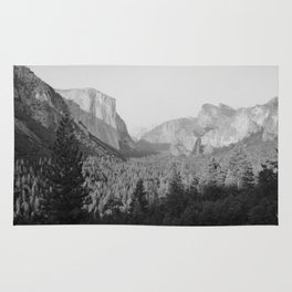 Yosemite Valley in Black and White Rug