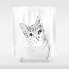 A Sketch :: Cat Eyes Shower Curtain