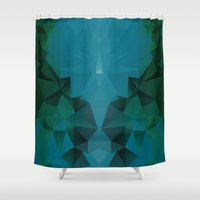 polygon Shower Curtains featuring PEACOCK POLYGON by ED design for fun