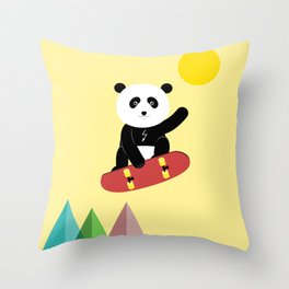 Panda on a skateboard Throw Pillow