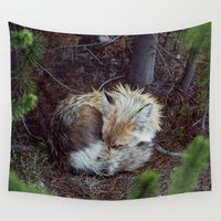 fox Wall Tapestries featuring Sleeping Fox by Kevin Russ