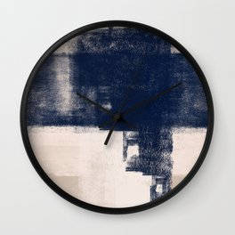 Just Tan & Indigo | Expressive Minimalist Abstract Wall Clock