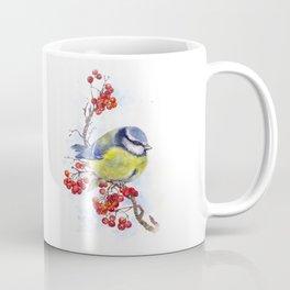 Watercolor Titmouse Great tit winter bird Coffee Mug